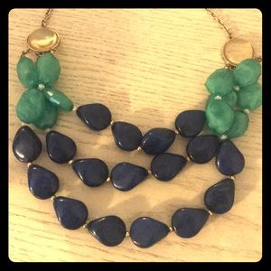 Turquoise navy chunky statement necklace